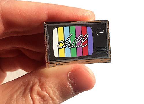 (CHILL Retro TV Enamel Lapel Pin Television Set Rainbow Vintage - 1.4 inch)