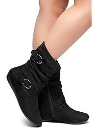 Marvel Women's Fashion Flat Heel Calf Boots Side Zipper...