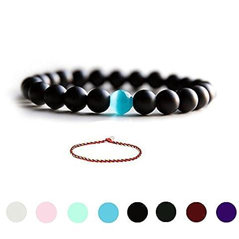 Cat Eye Jewels Natural Black Matte Agate Onyx Stones Bead Bracelet with Blue Semi-Precious Water Drop Stones Stretch Bracelet - Onyx Stone Bangles