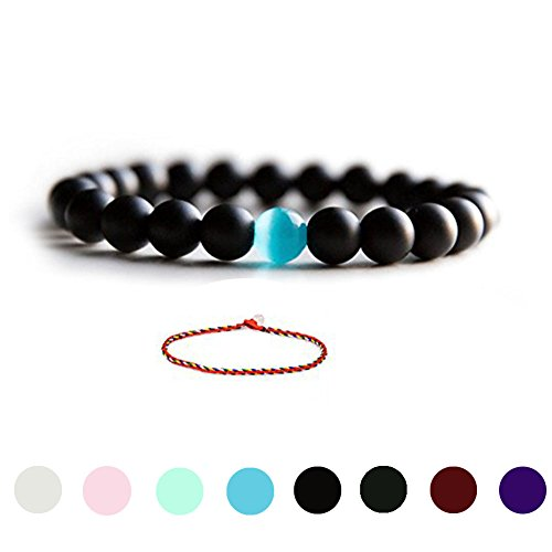 Cat Eye Jewels Natural Black Matte Agate Onyx Stones Bead Bracelet with Blue Semi-Precious Water Drop Stone Stretch Bracelet 8inch (H62-R1)