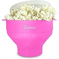 Salbree Collapsible Silicone Microwave Popcorn Popper, Pink