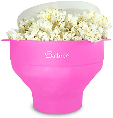 Original Salbree Microwave Popcorn Popper, Silicone Popcorn Maker, Collapsible Bowl BPA Free – 18 Colors Available (Pink)