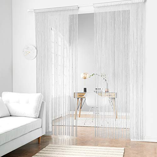 - Taiyuhomes Beaded String Curtains with Pearl Beads Dense Fringe Beaded Door Tassel Curtains (39x79,White)