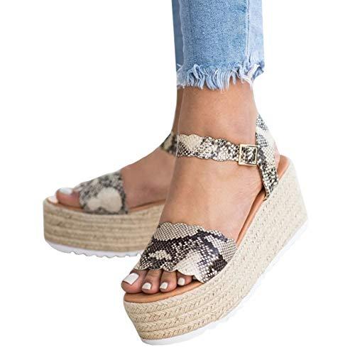Womens Espadrilles Platform Sandals Open Toe Scalloped Flatform Ankle Strap Dress Shoes