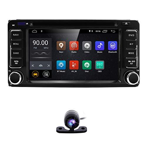 hizpo 6.2 Inch 2 Din Car Navigation Android 8.1 Touch Screen DVD Player AM FM Radio Fit f or Toyota RAV4 Corolla Camry Tundra 4Runner Previa Highlander Yaris Prado Hilux+ Reversing Backup Camera
