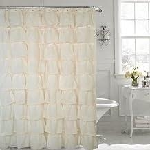 """Gee Di Moda Gypsy Ruffled Shower Curtain Cream 70"""" width x 72"""" length"""