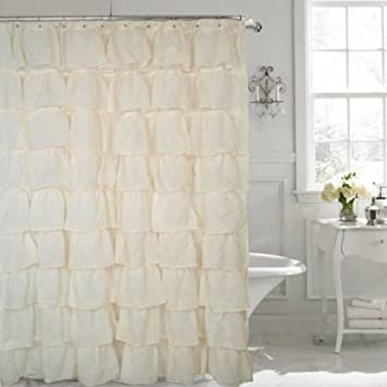 Amazon.com: Gypsy Ruffled Shower Curtain Cream 70