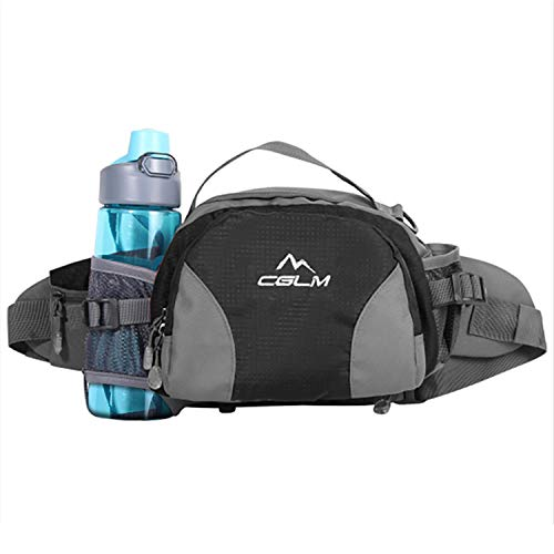 CGLM Running Waist Bag Running Belt Hiking Waist Bag Lumbar Pack Waterproof Fanny Pack with Water Bottle Holder for Outdoor Travel Hiking Cycling Climbing for iPhone iPod Samsung Phones (Black0301)