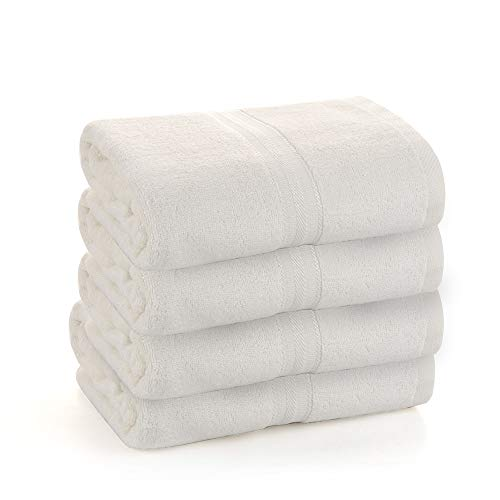 4 Pack Bamsilk Whtie Bath Towels- Made by Premium Bamboo for Bathroom, 16 inch X 43 inch