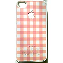 iPhone4 Case, Apple iPhone 4 /4s Lucas PC Ultra Slim Case (Cross Stripes with White) Battery Cover (Pink)