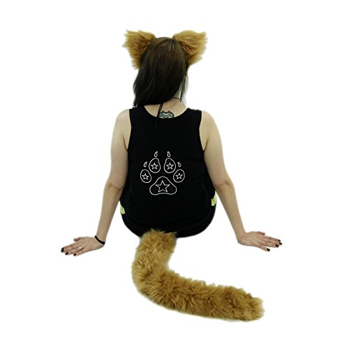 [Pawstar Furry Kitty Cat Mew Ear Headband and Tail Combo Costume Cosplay Set - Butterscotch] (Cat Ears And Tail Set)