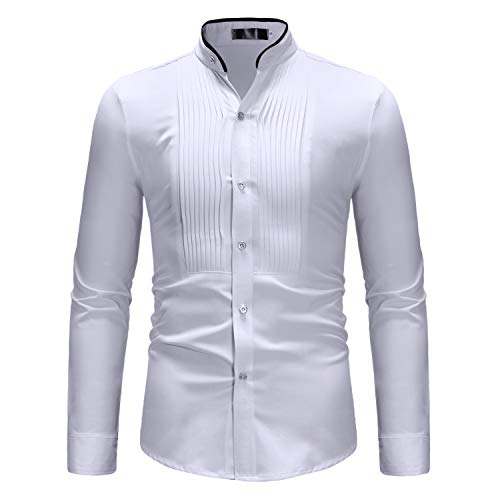 iCham Mens Tuxedo Shirts Mandarin Collar Slim Fit Long Sleeve Dress Shirts/Prom ()