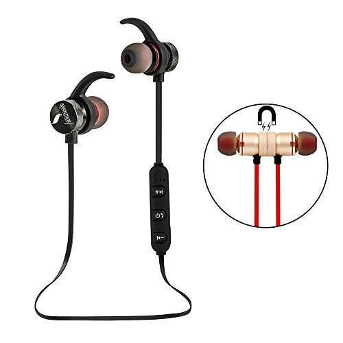 UBYMI BT31 Bluetooth Headphones, Wireless Stereo Bluetooth Headset With Magnet Attraction, Sweatproof Sports Earphones with Microphone for iPhone and Android Smartphones (Black)