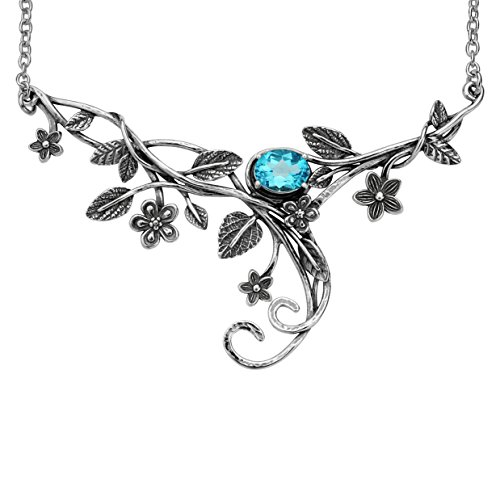 (PZ Paz Creations 925 Sterling Silver Floral Swirl Gemstone Statement Necklace (Blue-Topaz) )