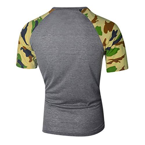 Chemise Shirt Top T Courte Slim Camouflage Hommes Imprimé Gris Manche Casual Amlaiworld Couture Fit qnCF7f5ww