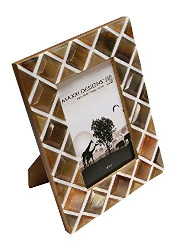 Maxxi Designs Safari Horn & White Resin Photo Frame with Easel Back, 4