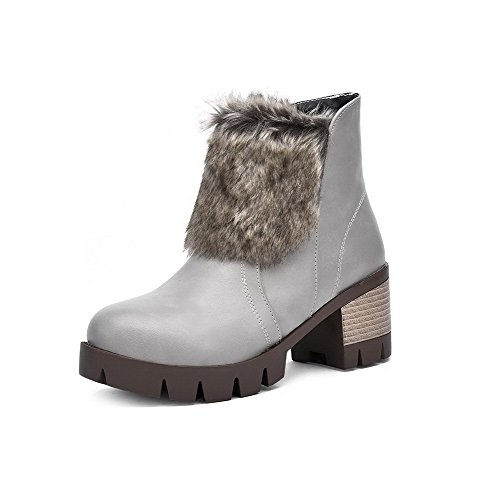 Women's Round Closed Toe Low-top High-Heels Solid Blend Materials Boots