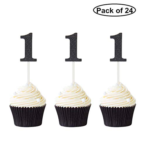 Pack of 24 Number 1 Cupcake Toppers Black Glitter 1st Birthday Caupcake Picks Anniversary Party Decor
