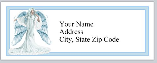 120 Personalized Return Address Labels Angel in Blue (bx 134) - Angel Personalized Address Labels
