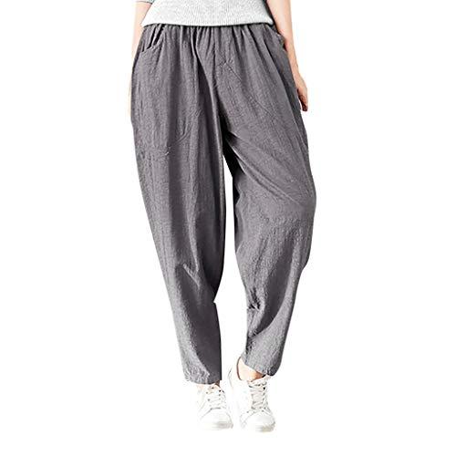 ANJUNIE Women Winter Warm Cotton Linen Radish Pants with Pockets Harem Pants Elastic Loose Trousers(3-Gray,L)