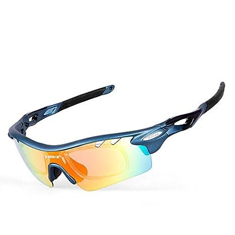 INBIKE Lunettes de cyclisme Homme Femme polarisées Vélo Eyewear Lunettes de Vélo Sports de plein air Lunettes de soleil Lunettes de 5groupes d'objectifs, bleu