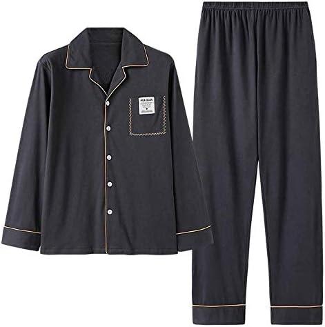 メンズパジャマ 長袖パンツパジャマコットン通気性の大型ルーズホームサービスは、メンズパジャマセットを設定します。 上下 セット 春 秋 (Color : Photo color, Size : XXL)