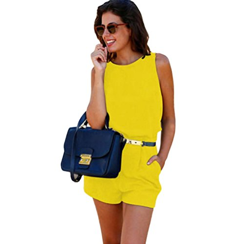 Womens Holiday Jumpsuit SanCanSn Ladies Mini Playsuit Jumpsuit Backless Romper Summer Beach Jumpsuit (US 8=Tag Size L, Yellow) Holiday Romper