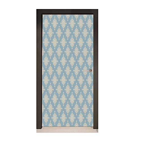 - Pearls Door Decal Abstract Swirled and Curved Lines Symmetrical Design Elements Vintage Royal for Home Room Decoration Slate Blue Gold,W23.6xH78.7