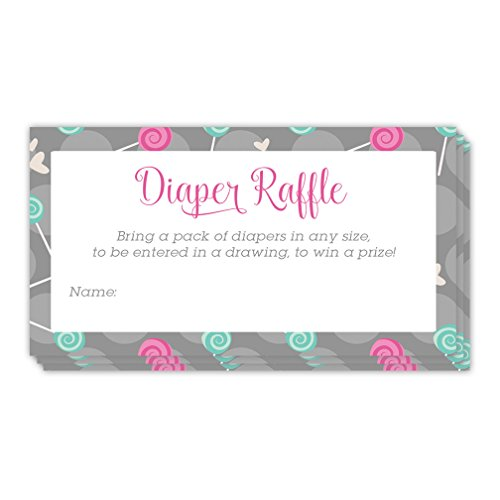 Diaper Raffle Tickets 48 Pack Lollipops Baby Shower Guest Invite Inserts 3.5 x 2 Inches Blank Name Tag Cards Party Game Drawing Win Prizes Mommy to Be Gender Reveal Neutral Boy Girl Infant Digibuddha (Lollipop Diaper)
