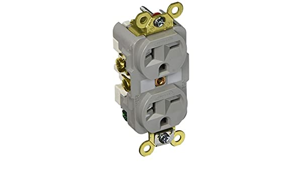 Hubbell HBL5462GY Duplex Receptacle HD Industrial Grade 20A 250V 6-20R Gray