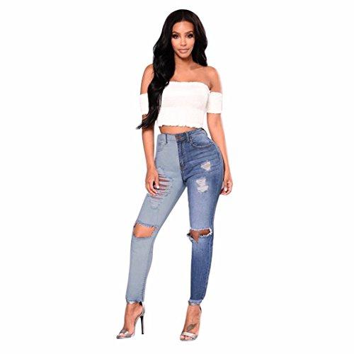 Vaqueros Costura De Color Con Paneles Mujer LHWY, EláStico Jeans De Cintura Alta Push Up Rotos Tejanos Pantalones En La Rodilla Jeans Flacos Del Tobillo De Flecos