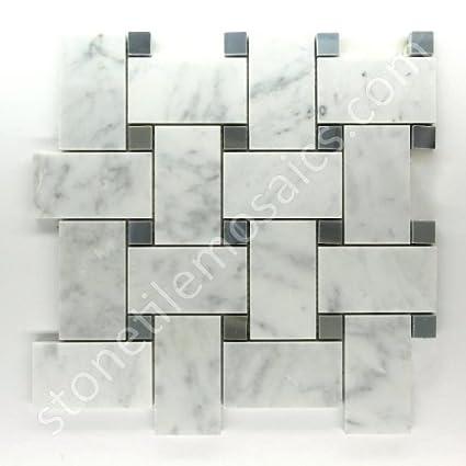 Amazoncom Vogue Carrara Marble Italian White Bianco Carrera Large - Carrara basketweave tile gray dot