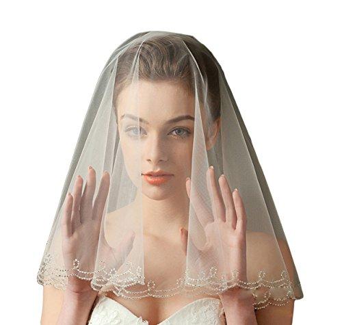 Gotidy Short First Communion Veils Luxury Single Tier Bridal Wedding Veils With Bead Edge