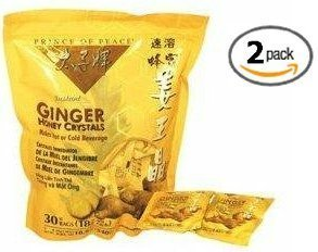 Prince of Peace Instant Ginger Honey Crystals 2 Pack of 30 Bags - 18 g Sachets ()
