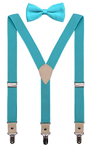 PZLE Boys Bow Tie and Suspenders Set for Wedding Adjustable 30 Inches Turquoise -