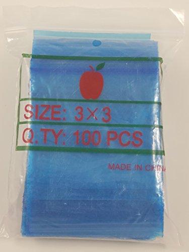 "3030 Apple Mini Ziplock 100 Baggies Blue Color Colored 100 Bags 3"" X 3"""