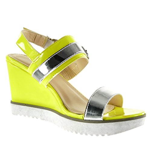 Angkorly - damen Schuhe Sandalen Mule - sneaker Sohle - knöchelriemen - glänzende - Schleife Keilabsatz high heel 9 CM - Gelb