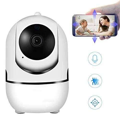 Video Baby Monitor Dog Camera WiFi Security Camera with Audio HD Pan/Tilt Indoor Auto-Tracking Night Vision Motion Detection 360 Degree Keep an Eye in Baby Room/pet/Dog/Puppy/cat/Nanny cam Home