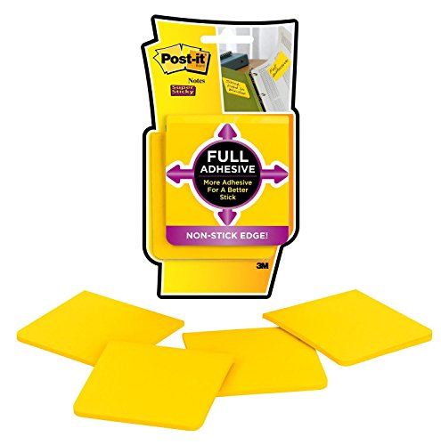 Post-it Super Sticky Full Adhesive Notes, 2x Sticking Power, Yellow, 3 x 3 Inches, 25 Sheets per Pad, 4-Pack (F330-4SSY)