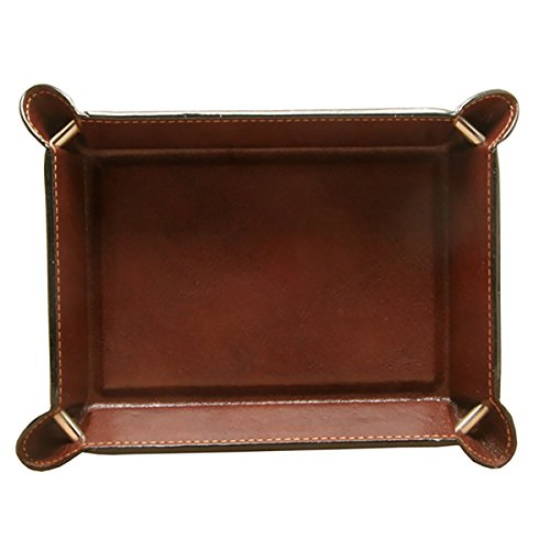 Valet Personalized Mens (CUSTOM PERSONALIZED INITIALS ENGRAVING Tony Perotti Unisex Italian Bull Leather Executive Organizer Travel Tray in Brown)