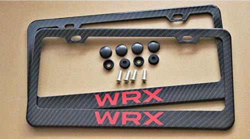 Armertek WRX Carbon Fiber-Look License Plate Frame Cover Stainless Steel Black for Subaru ()