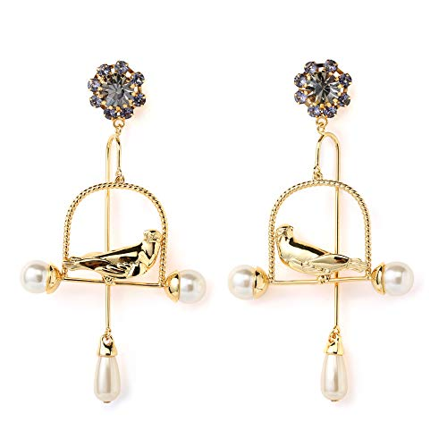 (AiryAi Magnificent Birdcage Dangle Earrings with Crystal Decorated Earring Studs and Pearl Ends 20K Gold Plated for Girls and Women Fashion Catching)