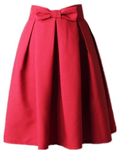 ated Vintage Skirt High Waist Midi Skater with Bow Tie (XS, Red) (Reds And Vintage Skirt)