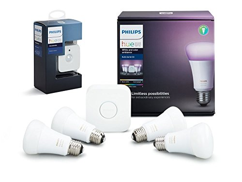 Philips Hue White and Color Ambiance LED Smart Bulb Starter Kit with Motion Sensor Bundle by Philips