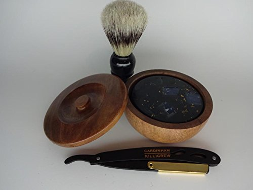 23K Gold Shave Soap Straight Razor Set charcoal shave sop unique mens gift luxury rosewood ()