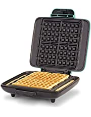 DASH No-Drip Belgian Waffle Maker: Waffle Iron 1200W + Waffle Maker Machine for Waffles, Hash Browns, or Any Breakfast, Lunch, & Snacks with Easy Clean, Non-Stick + Mess Free Sides - Aqua