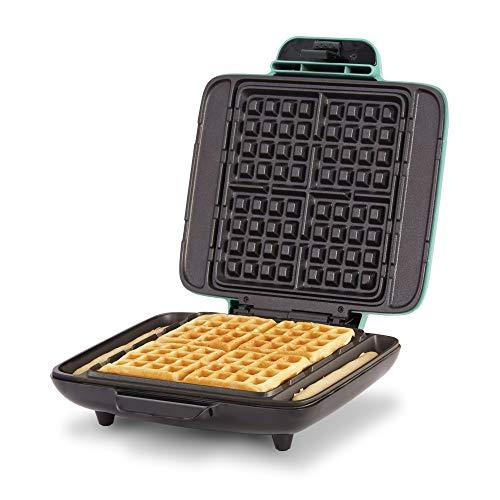 Dash DNMWM400AQ No- Drip Belgian 1200W Maker Machine Waffle Iron, Mess Free, Aqua