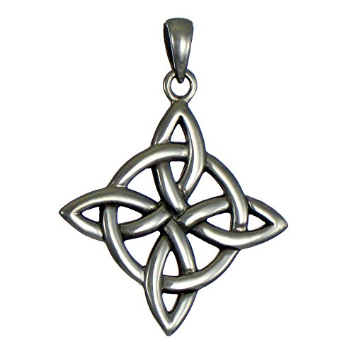 Sterling Silver Celtic Quaternary Witches Knot Pendant for men or women - Witch Moonlight