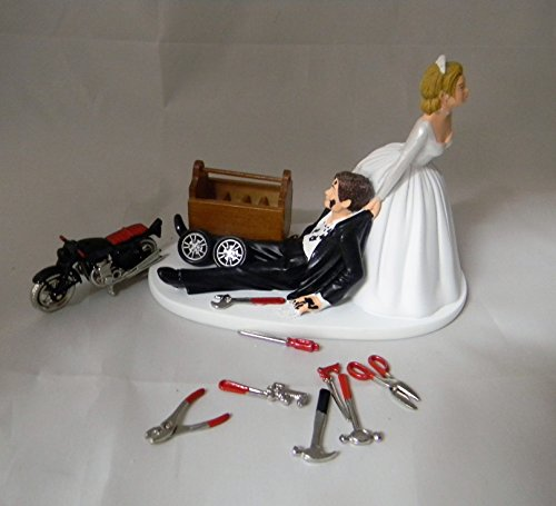 Wedding Motorcycle Biker Garage Mechanic grease Cake ()