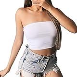 Fainosmny Womens Vest Slim Tank Tops Sexy Backless Gilet Shirts Fashion Strapless Waistcoat Sleeveless Basic Camisole White
